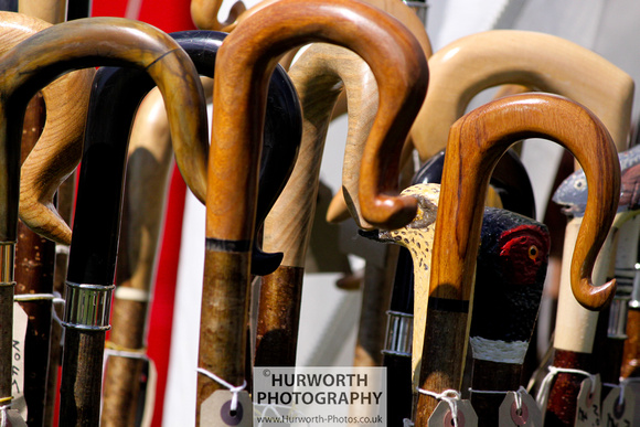 Shepherding crooks and walking sticks on display on a trade stand at the Yorkshire Game Fair